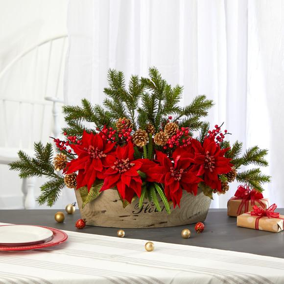 25 Poinsettia Succulent and Pine Artificial Arrangement in Decorative Vase - SKU #A1409 - 2