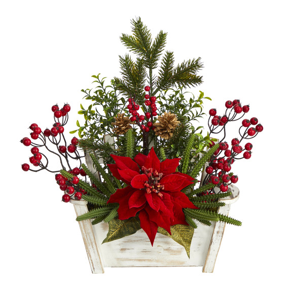 18 Poinsettia Succulent and Berry Artificial Arrangement in Bench Planter - SKU #A1410