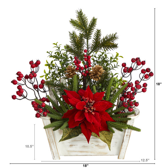 18 Poinsettia Succulent and Berry Artificial Arrangement in Bench Planter - SKU #A1410 - 1