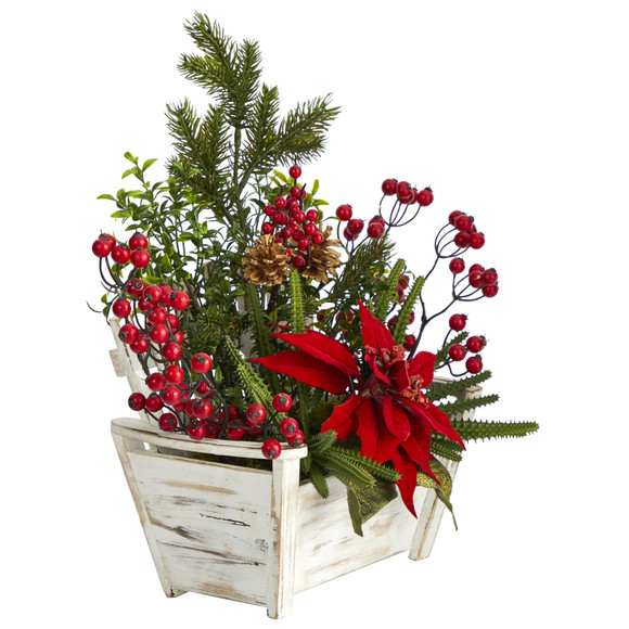 18 Poinsettia Succulent and Berry Artificial Arrangement in Bench Planter - SKU #A1410 - 2