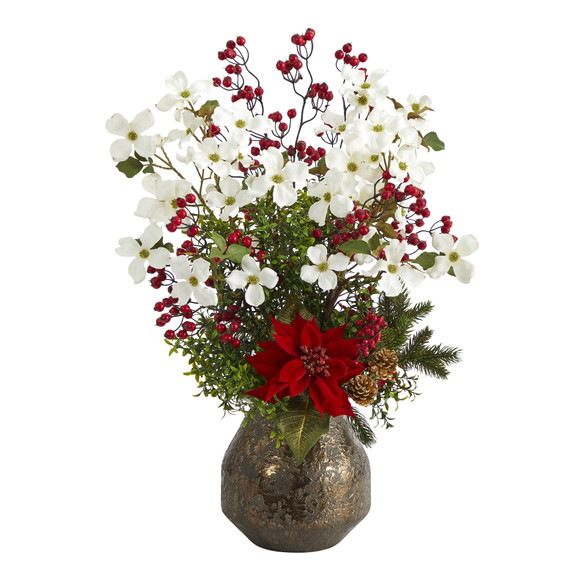 31 Poinsettia Dogwood and Berry Artificial Arrangement in Designer Vase - SKU #A1411
