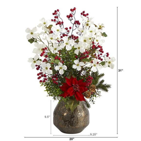 31 Poinsettia Dogwood and Berry Artificial Arrangement in Designer Vase - SKU #A1411 - 1