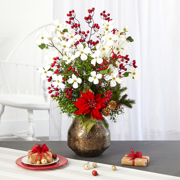31 Poinsettia Dogwood and Berry Artificial Arrangement in Designer Vase - SKU #A1411 - 2