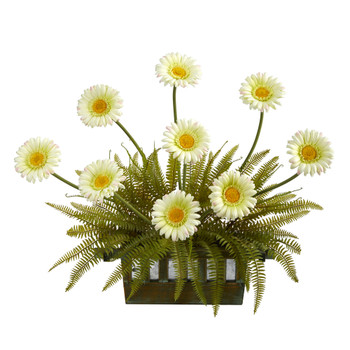23 Gerber Daisy and Fern Artificial Arrangement in Vase - SKU #A1412-CR