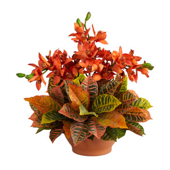 21 Cymbidium Orchid and Croton Artificial Arrangement in Terra Cotta Vase - SKU #A1413