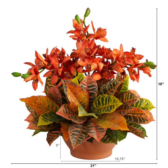 21 Cymbidium Orchid and Croton Artificial Arrangement in Terra Cotta Vase - SKU #A1413 - 1