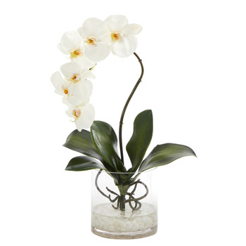 17 Phalaenopsis Orchid Artificial Arrangement in Glass Vase - SKU #A1414
