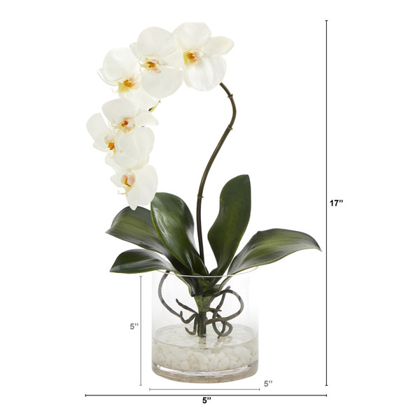 17 Phalaenopsis Orchid Artificial Arrangement in Glass Vase - SKU #A1414 - 1