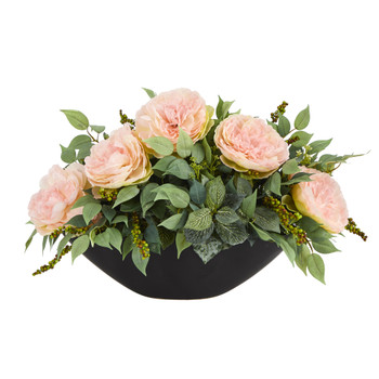 19 Peony and Mixed Greens Artificial Arrangement in Black Vase - SKU #A1416