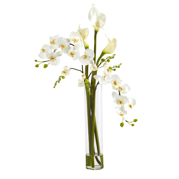 35 Phalaenopsis Orchid and Calla Lily Artificial Arrangement in Glass Vase - SKU #A1418