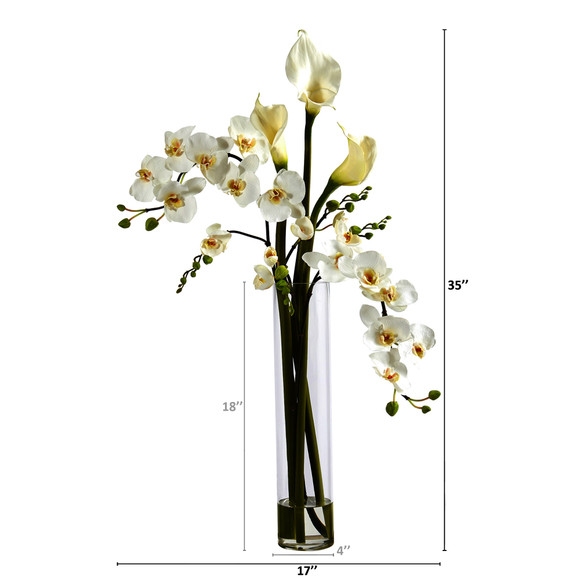 35 Phalaenopsis Orchid and Calla Lily Artificial Arrangement in Glass Vase - SKU #A1418 - 1
