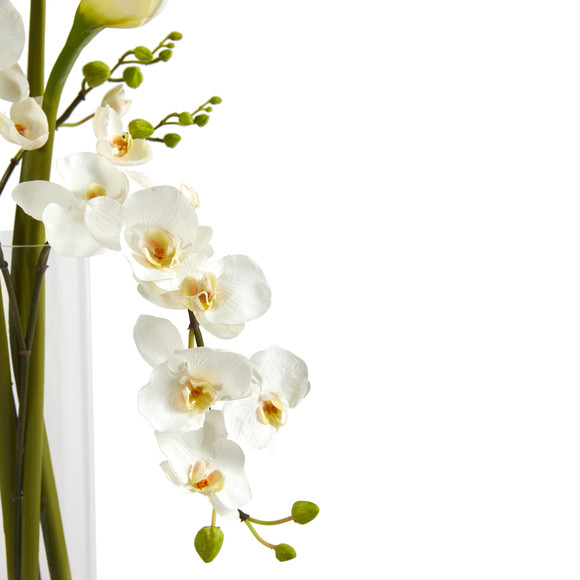 35 Phalaenopsis Orchid and Calla Lily Artificial Arrangement in Glass Vase - SKU #A1418 - 2