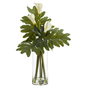 29 Calla Lily and Philo Artificial Arrangement in Glass Vase - SKU #A1419