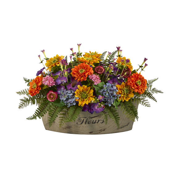 18 Mixed Flowers Artificial Arrangement in Decorative Vase - SKU #A1421