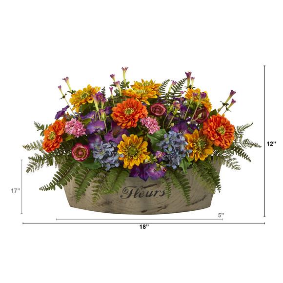 18 Mixed Flowers Artificial Arrangement in Decorative Vase - SKU #A1421 - 1
