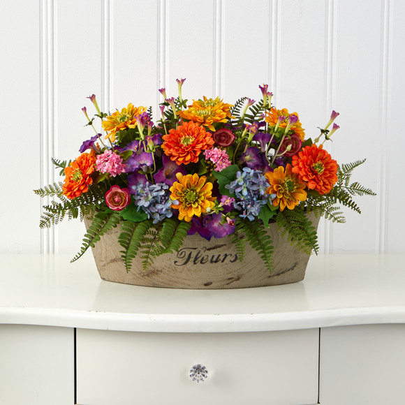 18 Mixed Flowers Artificial Arrangement in Decorative Vase - SKU #A1421