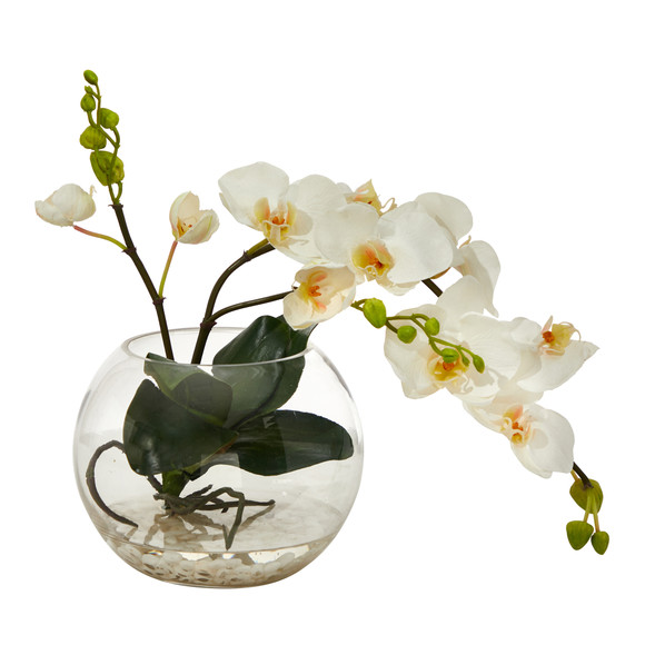 13 Phalaenopsis Orchid Artificial Arrangement in Glass Vase - SKU #A1422