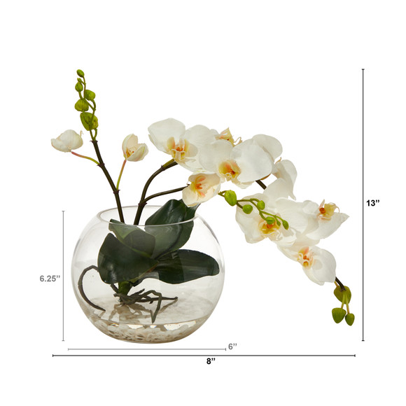 13 Phalaenopsis Orchid Artificial Arrangement in Glass Vase - SKU #A1422 - 1