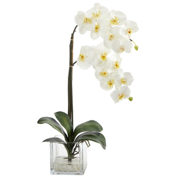 21 Phalaenopsis Orchid Artificial Arrangement in Glass Vase - SKU #A1423