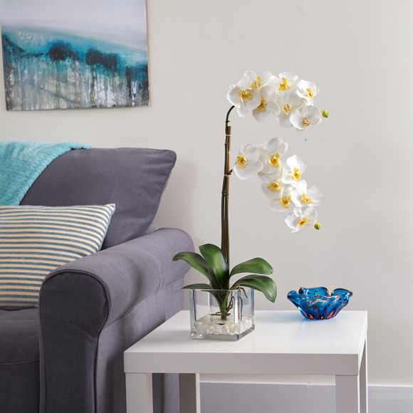 21 Phalaenopsis Orchid Artificial Arrangement in Glass Vase - SKU #A1423 - 2
