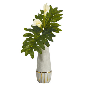 30 Calla Lily Artificial Arrangement in Stoneware Oval Vase with Gold Trimming - SKU #A1425
