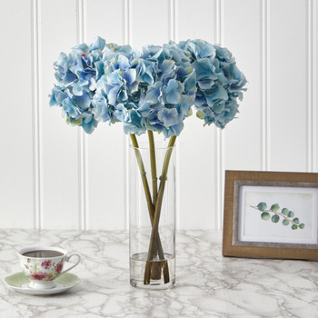 18 Hydrangea Artificial Arrangement in Glass Vase - SKU #A1427