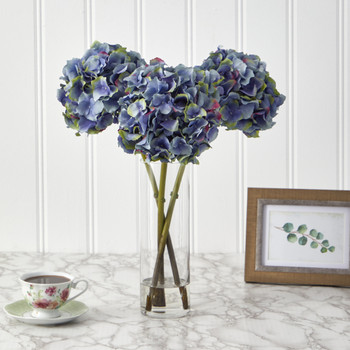 18 Hydrangea Artificial Arrangement in Glass Vase - SKU #A1427-DKBL