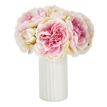 11 Peony Bouquet Artificial Arrangement in White Vase - SKU #A1428-WH
