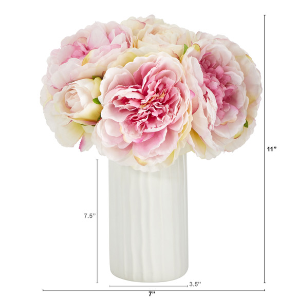 11 Peony Bouquet Artificial Arrangement in White Vase - SKU #A1428 - 2