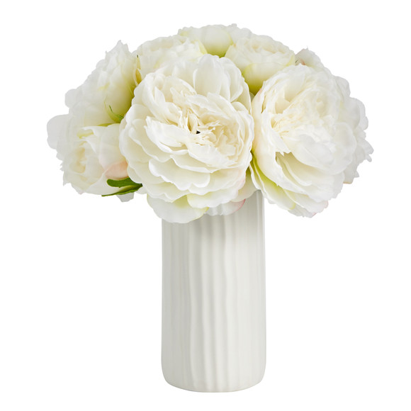 11 Peony Bouquet Artificial Arrangement in White Vase - SKU #A1428 - 4