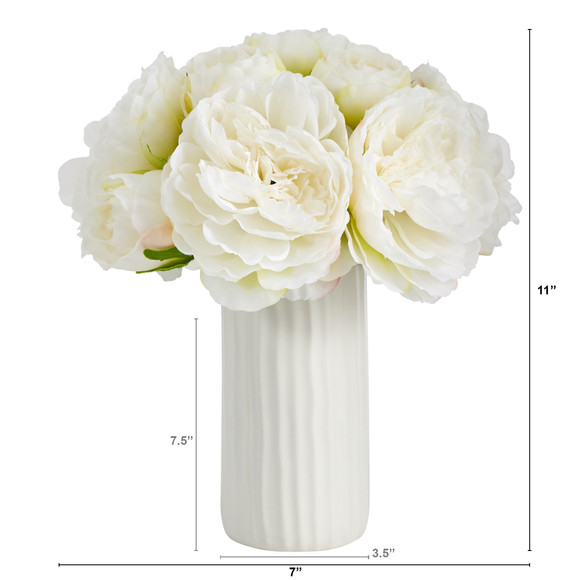 11 Peony Bouquet Artificial Arrangement in White Vase - SKU #A1428 - 5