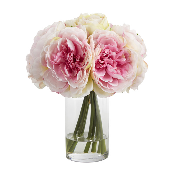 11 Peony Bouquet Artificial Arrangement in Glass Vase - SKU #A1429
