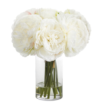 11 Peony Bouquet Artificial Arrangement in Glass Vase - SKU #A1429-WH