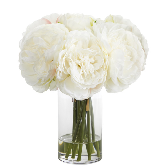 11 Peony Bouquet Artificial Arrangement in Glass Vase - SKU #A1429 - 2