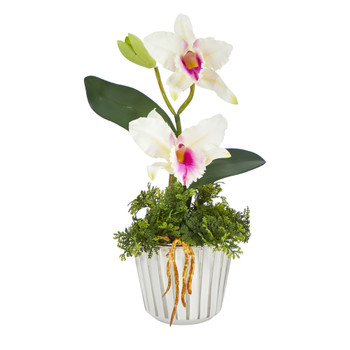 13 Mini Orchid Cattleya Artificial Arrangement in White Vase with Silver Trimming - SKU #A1430