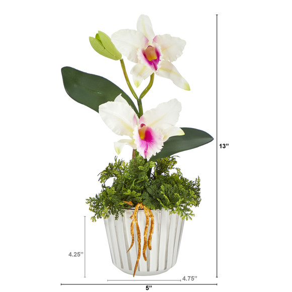 13 Mini Orchid Cattleya Artificial Arrangement in White Vase with Silver Trimming - SKU #A1430 - 1
