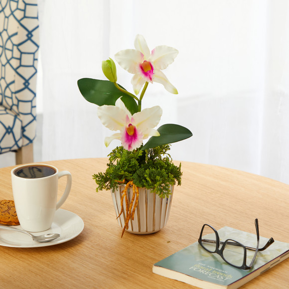13 Mini Orchid Cattleya Artificial Arrangement in White Vase with Silver Trimming - SKU #A1430 - 2