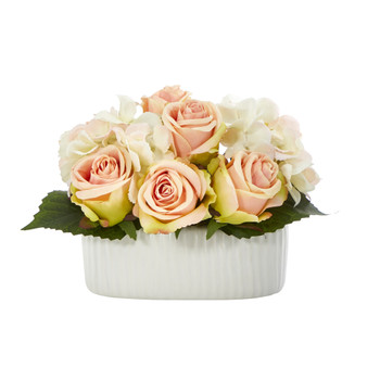 7 Rose and Hydrangea Artificial Arrangement in White Vase - SKU #A1431