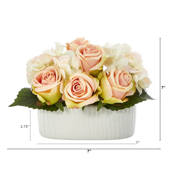 7 Rose and Hydrangea Artificial Arrangement in White Vase - SKU #A1431 - 1