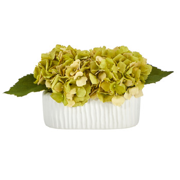 7 Hydrangea Artificial Arrangement in White Vase - SKU #A1432-GR