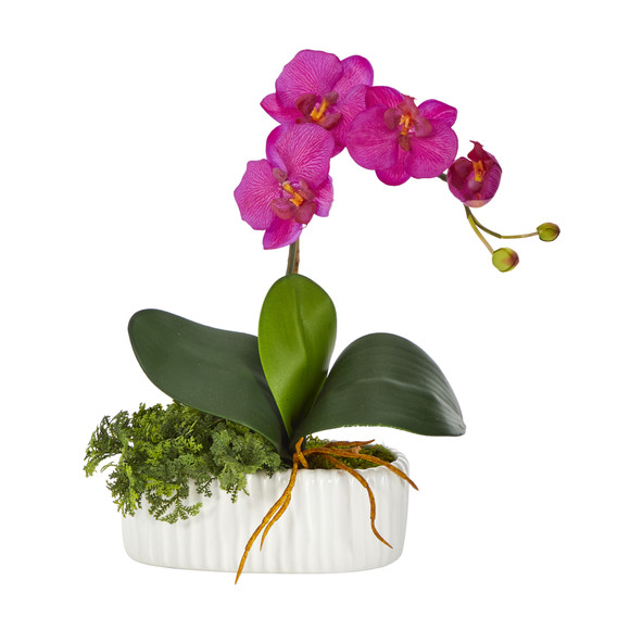 13 Mini Orchid Phalaenopsis Artificial Arrangement in White Vase - SKU #A1433