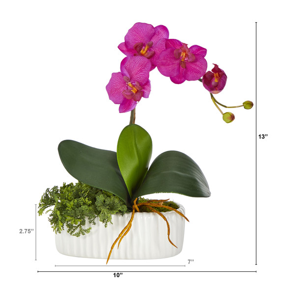 13 Mini Orchid Phalaenopsis Artificial Arrangement in White Vase - SKU #A1433 - 1