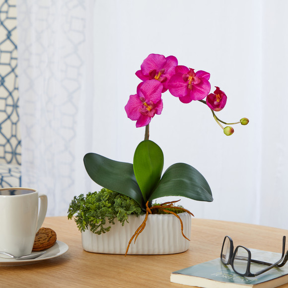 13 Mini Orchid Phalaenopsis Artificial Arrangement in White Vase - SKU #A1433 - 2