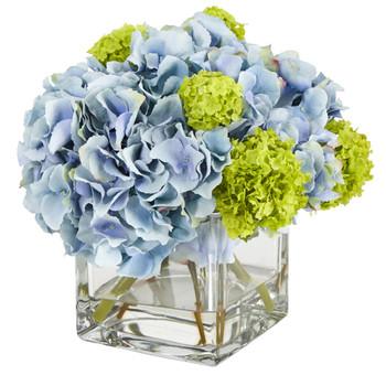 10 Hydrangea Artificial Arrangement in Glass Vase - SKU #A1434