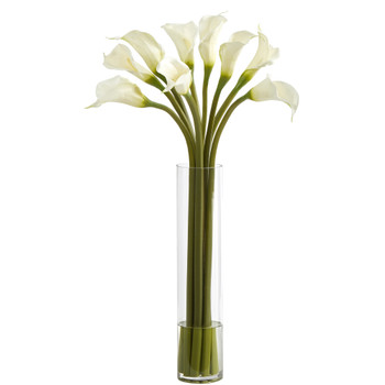 27 Calla Lily Artificial Arrangement in Cylinder Vase - SKU #A1435