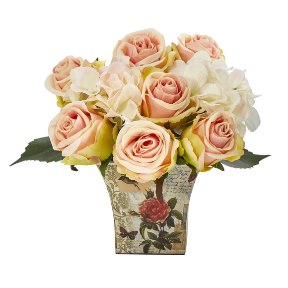 8 Rose and Hydrangea Bouquet Artificial Arrangement in Floral Vase - SKU #A1436