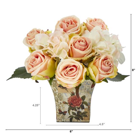 8 Rose and Hydrangea Bouquet Artificial Arrangement in Floral Vase - SKU #A1436 - 1