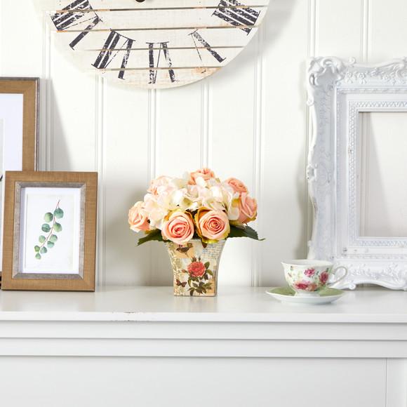 8 Rose and Hydrangea Bouquet Artificial Arrangement in Floral Vase - SKU #A1436 - 2