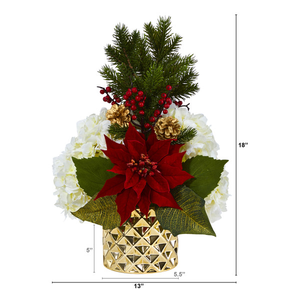18 Hydrangea Poinsettia Berry and Pine Artificial Arrangement in Gold Vase - SKU #A1438 - 1