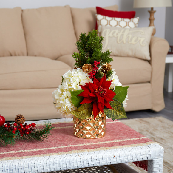 18 Hydrangea Poinsettia Berry and Pine Artificial Arrangement in Gold Vase - SKU #A1438